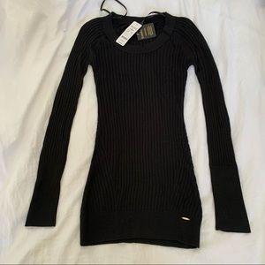 Bebe Black Ribbed Long Sleeve Dress